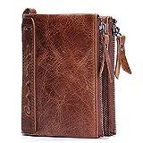 FeiNianJSh Portefeuille pour hommes en cuir vertical à court pochette Mode Porte-monnaie Cheval en cuir Double Zip Wallet Photo Frame Short Wallet (Color : Brown, Size : S)