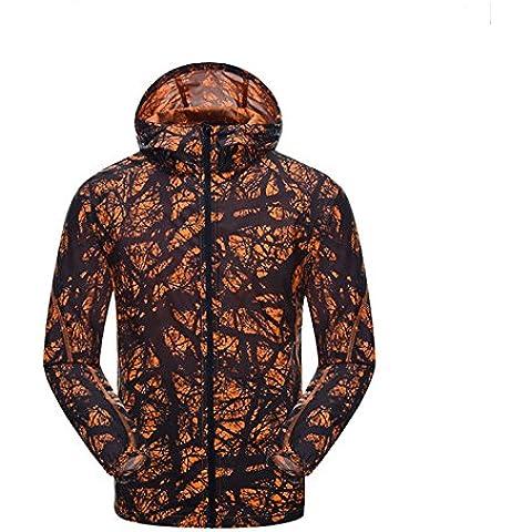 Beautiful Luv al aire libre velocidad secado Thin Piel impermeable Protector solar ropa Cool chaqueta cortavientos para, color naranja, tamaño