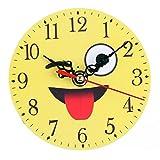 Zarupeng Emoji Wanduhr, Lautlos Uhr Uhren Wall Clock Ohne Tickgeräusche, Creative Digitaluhr Home Dekoration (11 x 11 cm, C)
