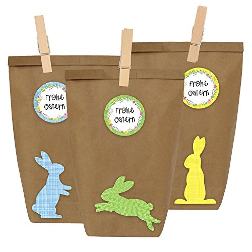 12 DIY Geschenktüten zu Ostern zum selber Basteln und Befüllen - Do It Yourself Osternest mit 12 Papiertüten und Osterhasen Aufklebern - Design 2 (Basteln Papiertüte)