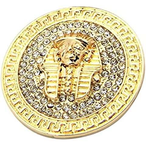 Iced Out da uomo placcato oro Faraone King Tut pietre di cristallo pendente catena cubana Hip Hop Bling Collana
