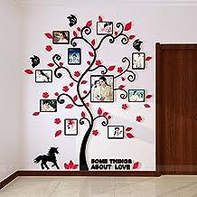 Alicemall Adhesivos 3D Decorativos para Pared AcríLico 3D Engomadas de la Pared Árbol con Hojas Rojo 144*175cm con Marcos Decoración de la Pared Para Casa Habitación Vinilos de Árboles