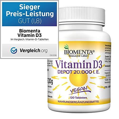 BIOMENTA VITAMIN D3 HOCHDOSIERT | 20000 I. E. | AKTION!!! | VEGAN | Vitamin D3 DEPOT: 1 Tab. Vitamin D /20 Tage | 120 Vitamin D3 Tabletten aus Cholecalciferol (D-vitamin-tabletten)