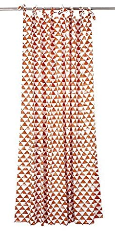 Store Indya Cotton Window Curtain Drapery Panel for Living Room Bedroom Orange White Colour with Geometrical Design (182 x 157 cm) Window Treatment Home Decor