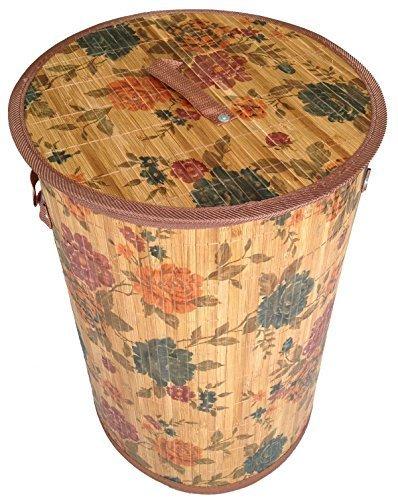GMMH LN 46 Wäschekorb blau rose Bambus faltbar, 60 cm hoch -
