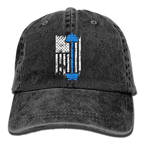 CHKWYN Gym Fitness Weightlifting - American Flag Lifting Washed Retro Adjustable Denim Hats Baseball Cap ForAdult Bio Washed Cap