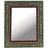 The Home Square Decorative Wall Mirror Silver Big Multi Colour Stone 53.5X43.5X1.5 Cm