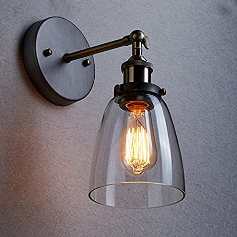 VanMe Loft Industriel Vintage Edison Appliques Applique Murale En Verre Clair De Mur D