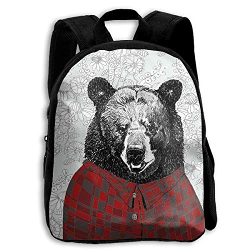 HOJJP Mochila escolar School Season Kids Backpack Travel Gear Daypack,Child Drawn Bear Shoulder Bag (Harley Quinn Von Vans)