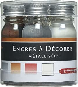 Herbin 12004T - Set de 5 Flacons 10ml d'Encre à Décorer Or/Argent/Cuivre/Ecume/Fer