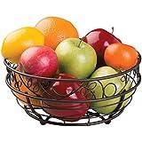 mDesign Frutero de metal – Decorativa cesta de metal para fruta y verdura, ideal para la cocina o el comedor – Accesorios de cocina - Frutero sobremesa con cenefa de hojas - Color bronce