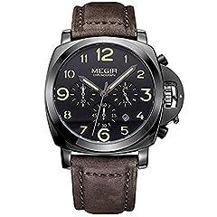 Idea Regalo - Megir, cronografo hodinky, orologio da uomo, marca top di lusso per orologi da uomo sportivo