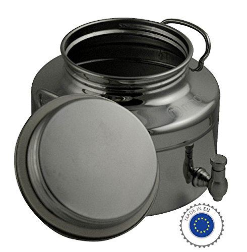 Fischer Kellereitechnik Edelstahl-Kanne: Transport-Kanne für flüssige Lebensmittel - Getränkefass aus Edelstahl - lebensmittelecht (5 Liter/mit Auslaufhahn)