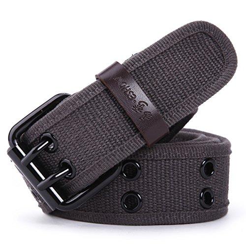 Leathario Eshow Cintura fibbia regolabile uomo e donna in tessuto tela casuale con metallo resistente all