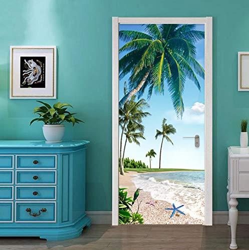 hsowe Pegatina para Puerta Autoadhesiva Playa De Playa En 3D Paisaje De Palma De Coco Restaurante Restaurante Baño Pegatinas De Pared A Prueba De Agua 2 Unidades/Juego -77X200Cm
