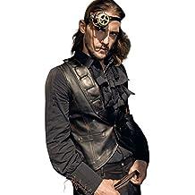 RQ-BL Steampunk Herren-Weste Braun Kunstleder SPM018 Lederweste Vintage Kostüm