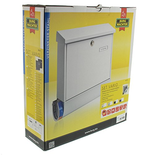 BURG-WÄCHTER, Briefkasten-Set mit Zeitungsbox A4 Einwurf-Format, Verzinkter Stahl, Set Vario Si, Silber - 6