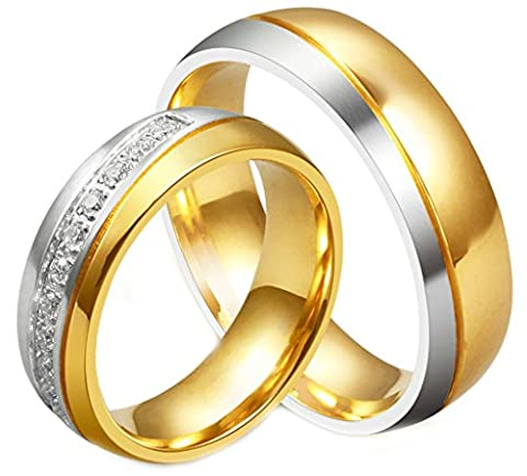 AMDXD Juwelier Herren Ringe aus 18K Vergoldet Edle Eherringe Freundschaftsringe Partnerringe Größe 62 (19.7)