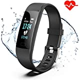 Akuti Fitness Tracker HR, Y1 Activity Tracker Watch With Heart Rate Monitor, Pedometer IP67 Waterproof Sleep Monitor Step Counter For Android & IPhone