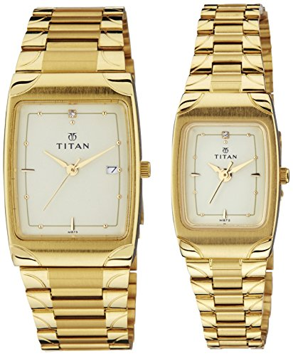 51hIMKC82CL - Titan NC19372937YM02 Bandhan Champagne Couple watch