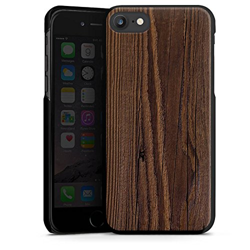 Apple iPhone X Silikon Hülle Case Schutzhülle Holz Look Maserung Hard Case schwarz
