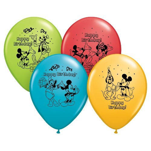 Qualatex 72419 Licensed Mickey Mouse Happy Birthday Latex-Ballons, Gummi, Mickey Happy Birthday (Mouse Mickey Gummi)