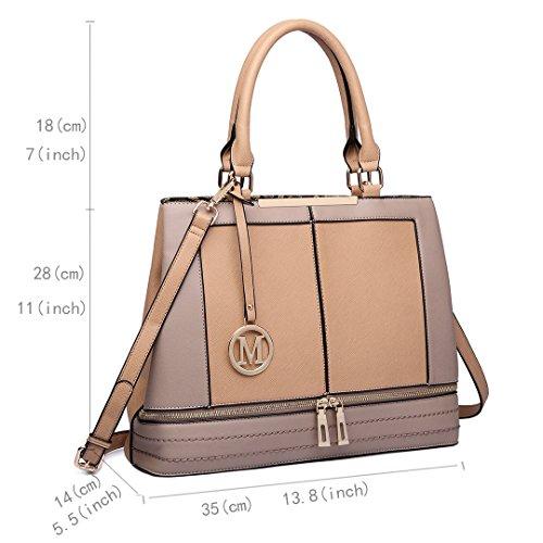 Miss LuLu Handtasche Damen Aktentasche Bürotasche Officetasche Business Vintage Elegant Praktisch Groß (LT6619-Braun) LT6619-Beige
