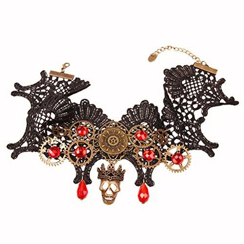 BESTOYARD Schädel Skelett Halsband Halloween Elegante Vintage Prinzessin Spitze Gothic Halskette Armband Party Favors Für Frauen, ()