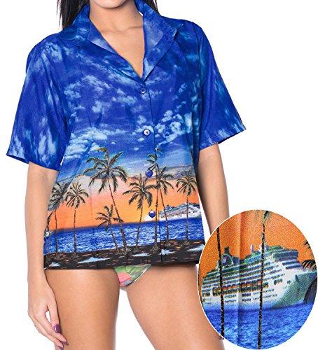 La Leela morbida Likre vista crociera tramonto camicia hawaiana donne blu XL