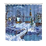 caichaxin Decorazioni per Il Bagno in Tessuto con Fiocchi di Neve nella Foresta di Natale