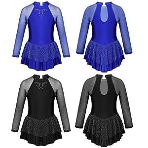 iiniim Kinder Eiskunstlaufkleid Langarm Ballettanzug mit Strass Mädchen Ballettkleid Ballerina Rollschuhkleid Latein Tanzkleid Wettbewerb