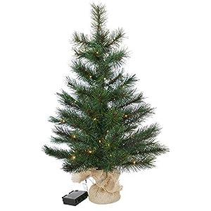 Gartenpirat Weihnachtsbaum Tanne 60 cm beleuchtet 25 LED Deko Christbaum Tannenbaum
