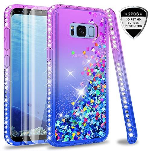LeYi Hülle Galaxy S8 Glitzer Handyhülle mit Full Cover 3D PET Schutzfolie(2 Stück),Diamond Rhinestone Bumper Schutzhülle für Case Samsung Galaxy S8 Handy Hüllen ZX Gradient Purple Blue - Diamond 2 Handy
