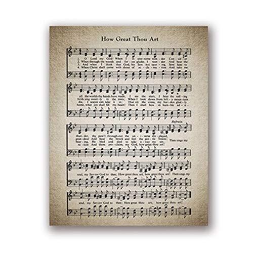 YuYuYucheng Dekorative Malerei Wie großartig du bist Hymne Wandkunst Leinwand Gemälde Bilder Vintage Sheet Music Poster Drucke Gesangbuch Sheet Gift Home Wall Decor Keine Grenze