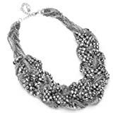 Moderner Schmuck damen Halskette silbergraue geflochtete Kette Beads und Perle statement