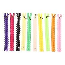 10st 20cm kanten rits nylon rits gemengde kleur stijl knop zijden vorm voor het naaien van kledingaccessoires