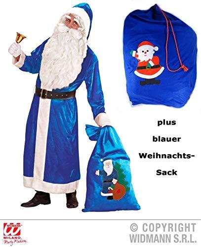 (Scherzwelt Blauer Nikolaus - Weihnachtsmann Kostüm Deluxe Gr. XL mit blauem Sack Weihnachten)