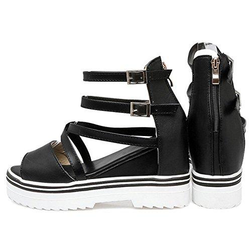 COOLCEPT Damen Mode Knochelriemchen Sandalen Open Toe Aufzug Schuhe SM Schwarz