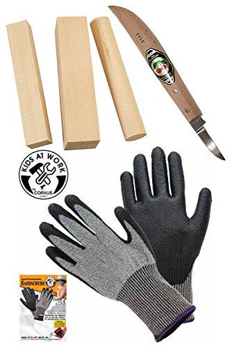 Corvus Kirschen Schnitz-Messer + Schnitz-Holz + Handschuh Schnitthemmend Größe 6-S Schnitz-Set