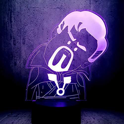 Tianyifengg Color 3D-LED-7-control Remoto-luz Nocturna-Lindo Doctor extraño luz Ventilador de película Regalo...
