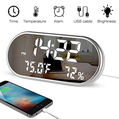 Sisde Reloj Despertador Esfera Espejo termómetro