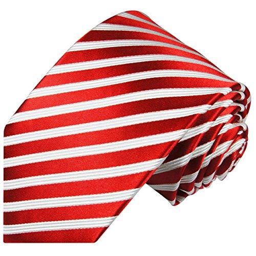 Paul Malone Rot gestreifte Krawatte 100% Seide Seidenkrawatte