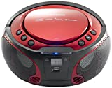 Lenco Boombox SCD-550 Red Tragbarer Cd-Player mit Discolichteffekt, FM Radio,...