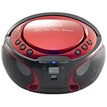 Lenco SCD-550 - CD-Player für Kinder - CD-Radio - Stereoanalage - Boombox - MP3 und USB Player - Bluetooth - 2 x 2 W RMS-Leistung - Party Lights - Rot