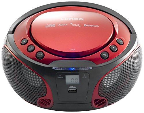 Lenco SCD-550 - CD-Player für Kinder - CD-Radio - Stereoanalage - Boombox - MP3 und USB Player - Bluetooth - 2 x 2 W RMS-Leistung - Party Lights - Rot