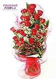 passionefiori.it Consegna Mazzo di 15 Rose Rosse Fresche