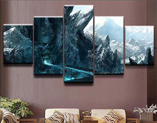 XYZNB Leinwanddrucke Snow Mountain 5 Panel Moderne Landschaften Home Decor Bild Wandkunst Druck Malerei Wohnzimmer Poster (Größe 2) Kein Rahmen