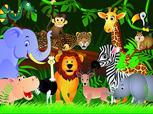 Vlies Fototapete - Kindertapete Wilde Tiere im Dschungel - Cartoon - 300x230 cm - mit Kleister - Poster - Foto auf Tapete - Wandbild - Wandtapete - Vliestapete
