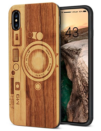 Cover iPhone X, YFWOOD iPhone X Hülle Holz, Kirschbaum Kamera# (Hinweis 4 Fall Mit Screen Protector)