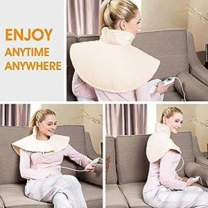 Hangsun Heizkissen Elektrisch für Schulter Nacken TP530 (50 x 35 cm) Elektrisches Wärmekissen 3 Temperaturstufen, Waschbar